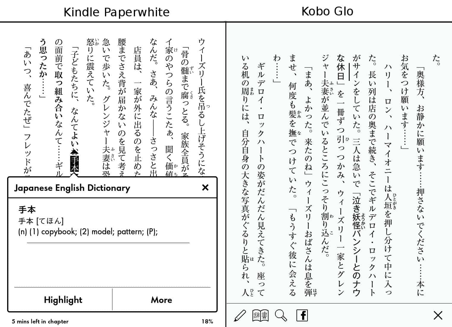 Reading Japanese: Kindle Paperwhite versus Kobo Glo – There and back