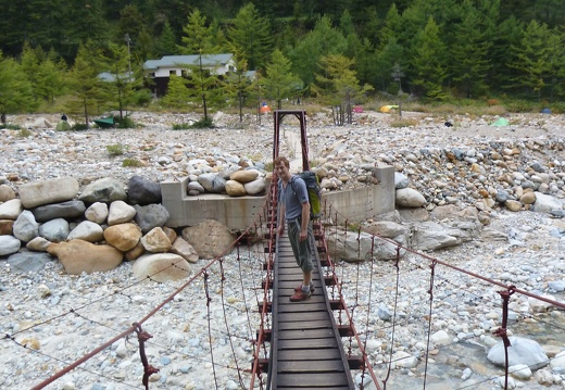 Before reaching the hut there is a nice hanging bridge, bit shaky