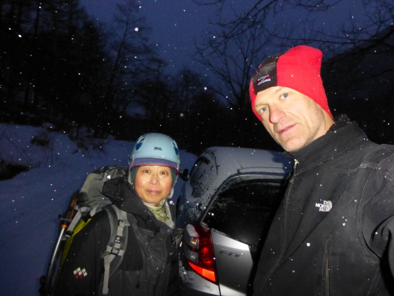 Since we arrived so late, we climbed till it was getting dark, in total 7 routes. The 30min back to the car on a very slippery road we hurried not to miss onsen and dinner.