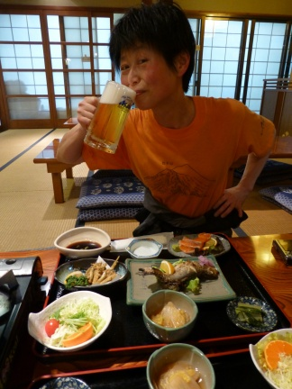Masumi happily enjoying a beer (the first, and not the last, followed by Sake, and wine).