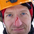 P1000739.JPG -- Typical incident while ice climbing: A small piece of ice falling down and hitting you on the nose, nothing serious, I wouldn't have even realized it without Masumi telling me.