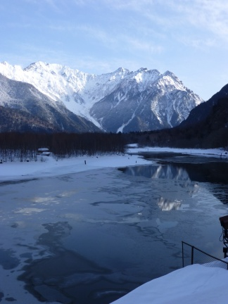 The lake at the entrance of the Kamikochi valley, one of the prime mountaineering (and sight-seeing spots) in Japan