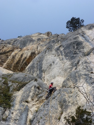 Florian attacking the first difficult pitch