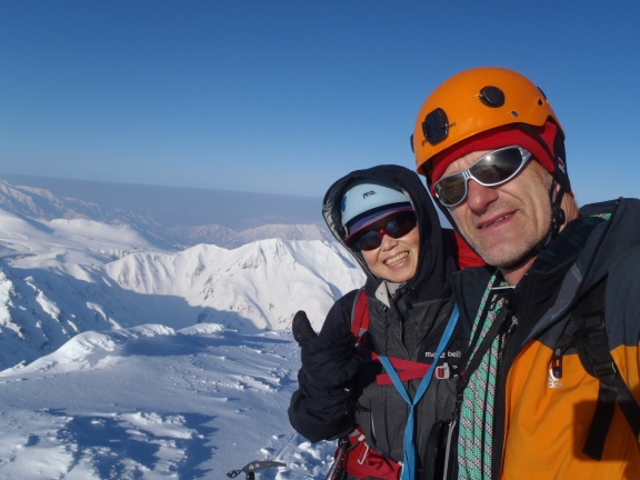 Two tired people - nobody else on the top at that time