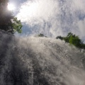 GOPR1383.JPG -- Looking up into the waterfall while rappeling down
