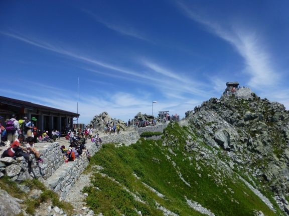 Top of Tateyama with the shrine, and many people