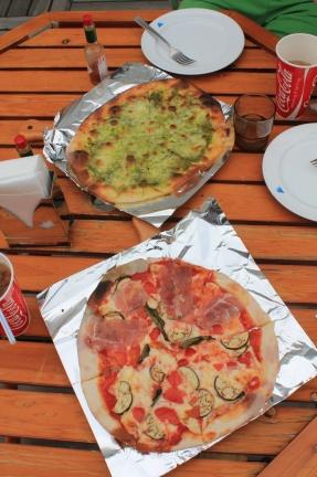 Two excellent pizzas, very crispy dough, nice taste
