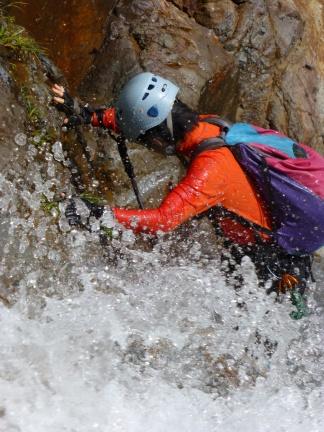 Masumi fighting up in one of the splish-splash waterfalls