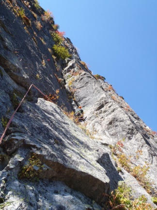 First pitch of the upper part - a long diedre