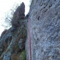 2013-10-14 052.JPG -- Second pitch, first a shaky traverse to the right, and then back to the left to the belay behind a big flake