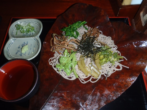 After a nice soak in the onsen delicious soba with mountain vegetables