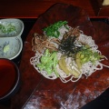 2013-10-14 110.JPG -- After a nice soak in the onsen delicious soba with mountain vegetables
