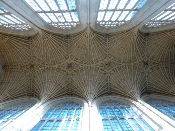 The ceiling of the cathedral in Bath, interesting and very mathematical structure