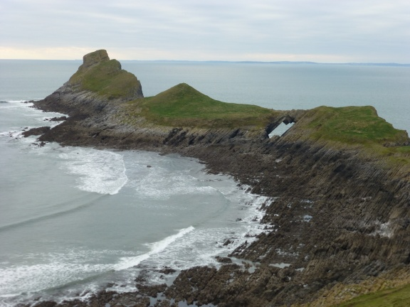 The rear part of Worms Head, with the spectacular hole one has to cross