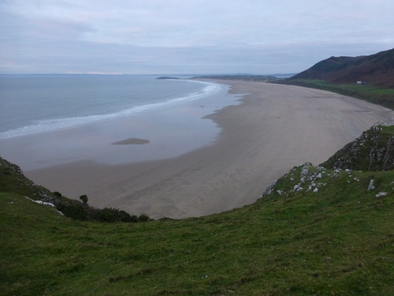 Rhossili Bay with the sunken ship