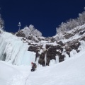 2014-01-13 029.JPG -- The crux of the gully, one long pitch with two step (vertical) steps on pinnacles