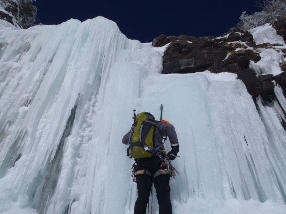 The first of the two steps of the crux
