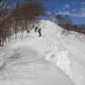 DSC05163.JPG -- Trees and cornices make the skiing path narrow