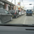0320 153.jpg -- Cars waiting in line several kilometer long in case the gasoline stand has some gasoline on the next day