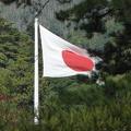 P1000637.JPG -- The Japanese flag over Izumotaisha