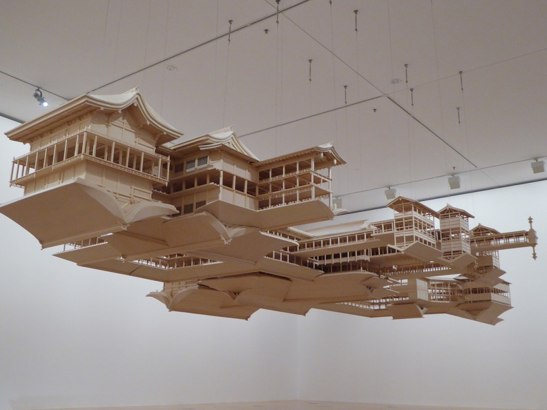 "National Gallery of Victoria - view from below the ""Reflection Model"" of Miyajima shrine, by Takahiro Iwasaki"