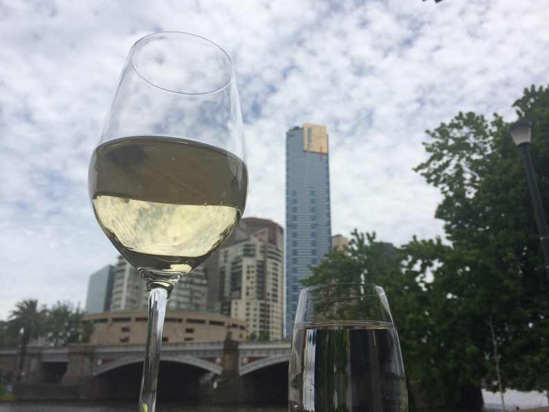 Chilling out along Melbourne's Yarra River - with Austrian Grüner Veltliner