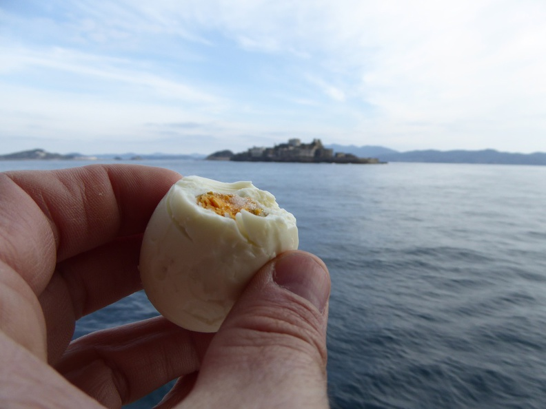 Onsen egg with Gunkanjima - I am always hungry