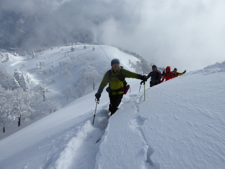 Coming out of the steep upper ridge