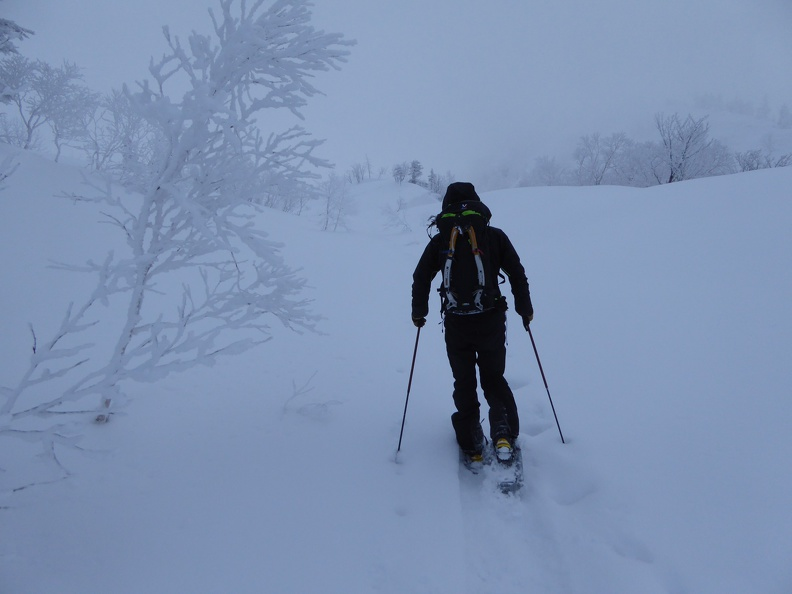 Approach to the climb with snow shoes
