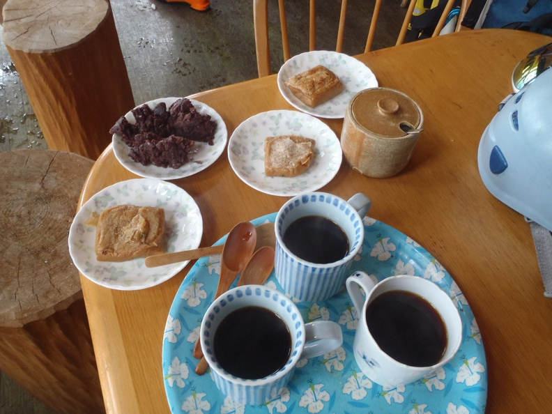 Homemade Tochimochi, Anko, and coffee