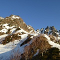P1020346.JPG -- Morning light on the ridge we are going to climb