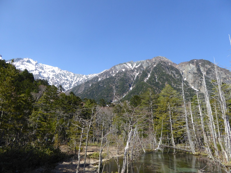 Looking back to Myojindake from the floor of Kamikochi
