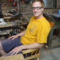 014.jpg -- Test-sitting in a home-made chair