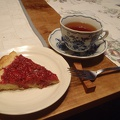 033.jpg -- Re-visiting our friend, we got an excellent home-made raspberry pie and tea. Perfect.