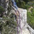 075.jpg -- Rappel along the ridge
