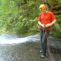 054.JPG -- Preparing for the rappel (abseil) down the big fall - there is a reason we carried two ropes with us!