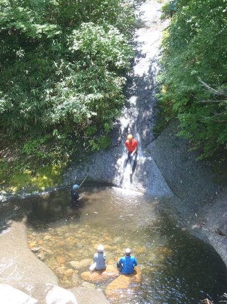 Enjoying a water slide - scary!!