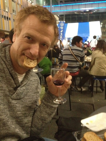 Having a good time at the Wine Festival in Toyama