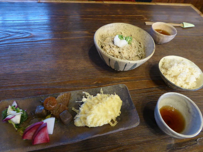 Set menu: veggies, tempura, pickles, rice, and soba with crunched hazelnut