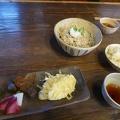 P1030665.JPG -- Set menu: veggies, tempura, pickles, rice, and soba with crunched hazelnut
