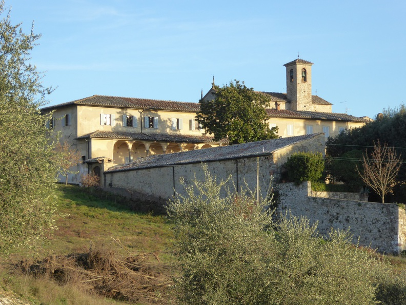 View from the surrounding olive yards onto the Certosa