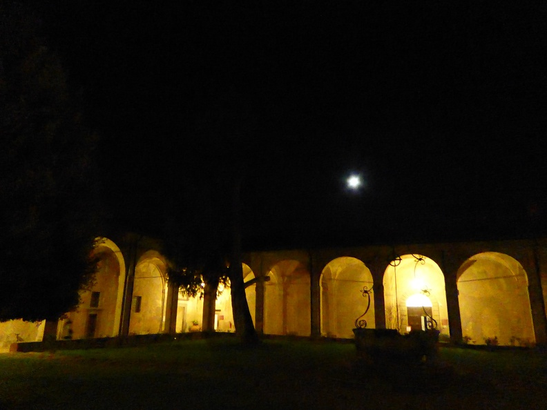 Full moon over the central courtyard of the Certosa