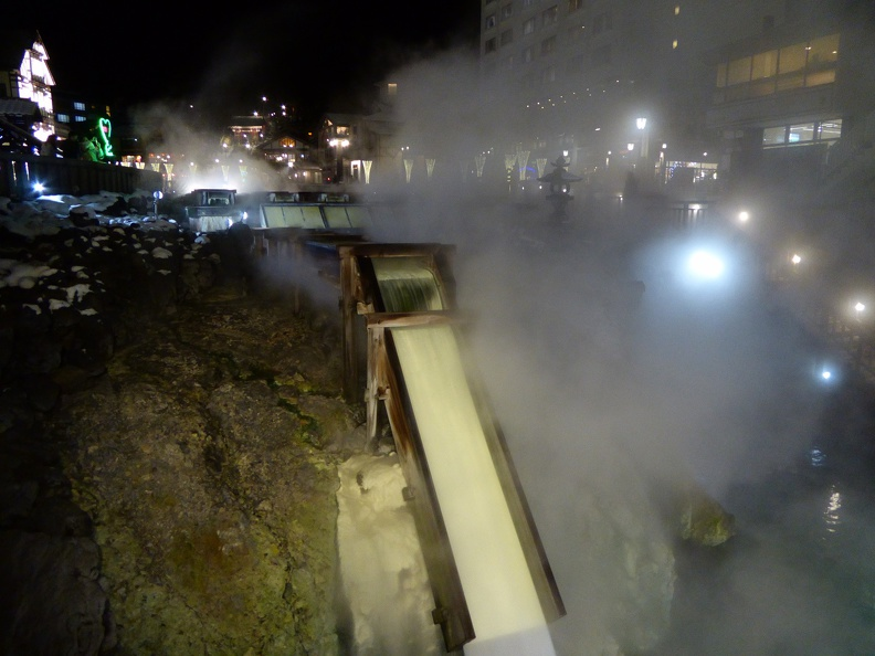 Yubatake, the hot water field in the center of Kusatsu at night