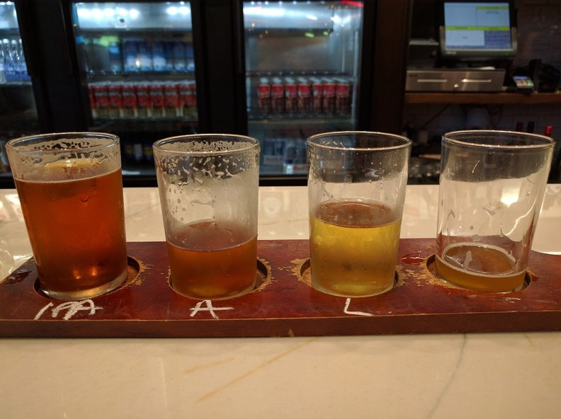 Beer tasting at Niagara Brewery, IPA, Amber ale, Lager, and some Light Fruity Radler beer.