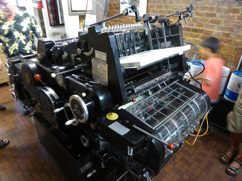 Heidelberg printing machine at Porcupine's quilt