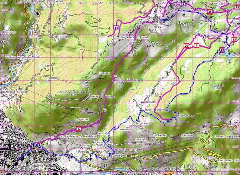 Map of the afternoon hike
