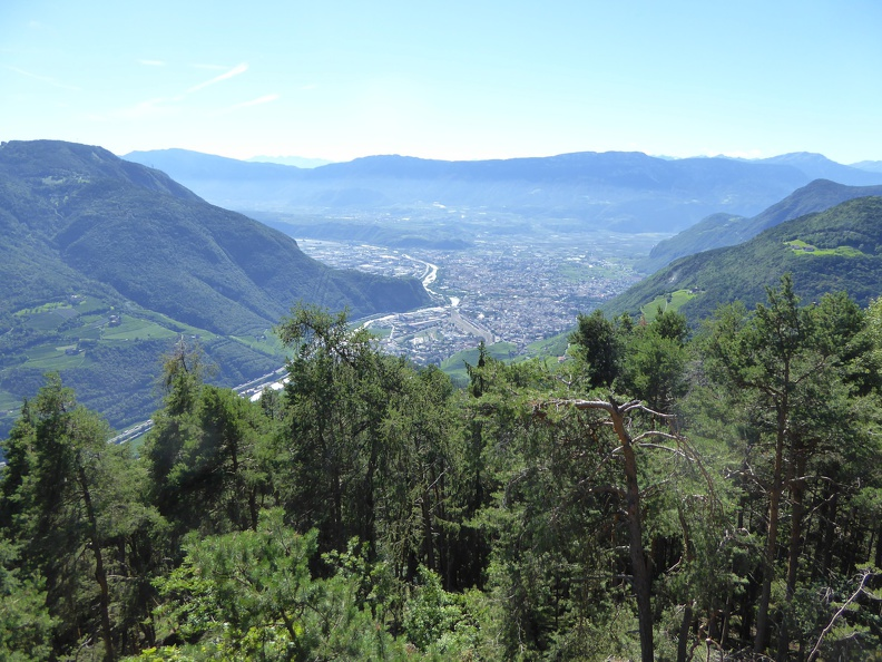 Panorama onto Bozen and the surrounding mountains